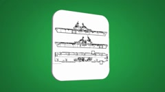 Vector Map intro - Three Ships - Transition Blueprint - green 01 - stock footage