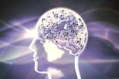 Composite image of maze brain in head - stock illustration