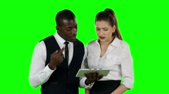 Successful businessman people winning competition. Green screen - stock footage