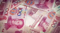 Chinese Yuan Banknotes Rotating Stock Footage