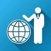 Global Manager Gradient Square Icon - stock illustration