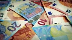 Mixed Euro Banknotes Rotating Stock Footage