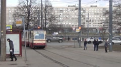 Stop at the junction of the riverside line and entrance to the dedicated ramp - stock footage