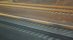 Railroad quickly rushes past, the view from the train window - stock footage
