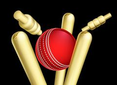 Cricket Ball Breaking Wicket Stumps Stock Illustration