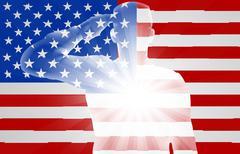 Veterans Day Soldier Saluting Stock Illustration