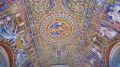Restored mosaic ceiling, Kaiser Wilhelm Memorial Church, WW2, Berlin Stock Footage