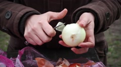 Chef Peeling Onion Stock Footage