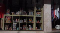 4k Stoneware crockery shop historic city center Lagos Portugal - stock footage