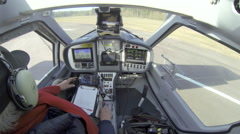 Cockpit view from a microligth airplane - stock footage