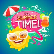 Summer Time Poster - stock illustration