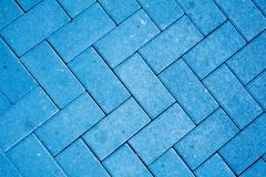 pavement pattern made with cast concrete blocks in blue color - stock photo
