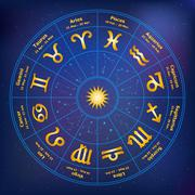 Circle with signs of zodiac. Vector illustration. - stock illustration