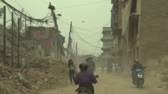 Nepal 1 Year After the Earthquake. Dusty Streets 4K Stock Footage