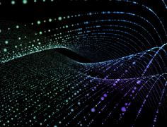 Stock Illustration of Abstract digital background glowing particles in space