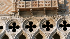 Buildings detail from Doges Palace on San Marco square, Venice, Italy. 4K Stock Footage