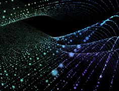 Abstract digital background glowing particles in space - stock illustration