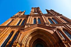 famous Markt Kirche in Wiesbaden, a brick building in neo-Gothic style - stock photo