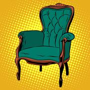 Green soft chair furniture armchair vector Stock Illustration