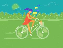 Young woman rides white outlined bicycle Stock Illustration