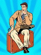Man traveler sitting on a suitcase Stock Illustration