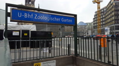 Entrance to subway station, Ubahn Zoologischer Garten sign, Berlin, Germany Stock Footage
