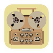 Reel tape recorder icon on yellow background Stock Illustration