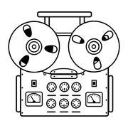 Reel tape recorder on white background. Stock Illustration