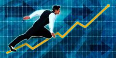 Senior Businessman Running with Chart Graph Background Stock Illustration
