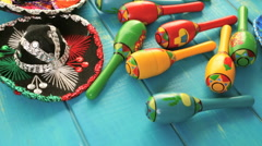 Traditional colorful table decorations for celebrating Fiesta. - stock footage