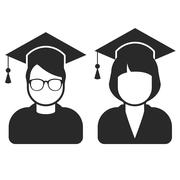 Students in mortarboard hats - graduating students - stock illustration