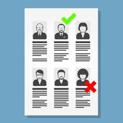 Job placement and hiring people - list of cv files Stock Illustration