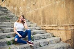 Beautiful Teenage Girl in the Old Town - stock photo