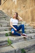 Beautiful Teenage Girl in the Old Town - stock photo
