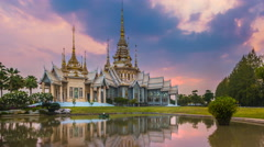 Wat Non Kum Landmark Temple Of Thailand (Time Lapse Day To Night) Stock Footage