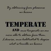 By abstaining from pleasures we become temperate - stock illustration