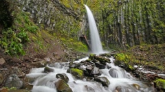 Long exposure water flowing of Dry Creek Falls in Cascade Locks, Oregon 1080p hd - stock footage