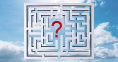 Composite image of maze question mark - stock illustration