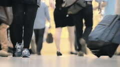 Anonymous people walk legs feet interior unrecognisable crowd commute NYC travel Stock Footage