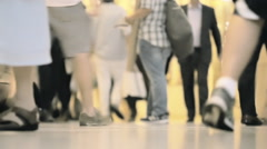 Unrecognizable crowd commute anonymous people walk feet crowded interior NYC Stock Footage