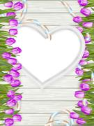 Heart shape frame with tulips. EPS 10 - stock illustration