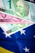 brasil money and flag - stock photo