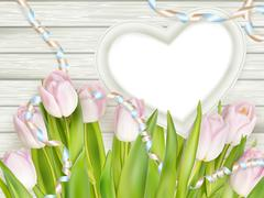 Heart shape frame with tulips. EPS 10 Stock Illustration