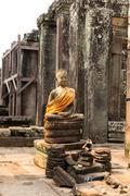 statue in the Bayon Temple Cambodia - stock photo