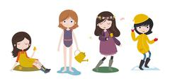 Cute cartoon girls and the four seasons - stock illustration