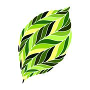 Vector image of a leaf in shades of green on a white background. Stock Illustration