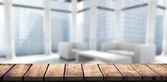 Composite image of wooden desk - stock illustration