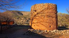 The Torreon Rock Tower Fort in Lincoln, New Mexico Stock Photos