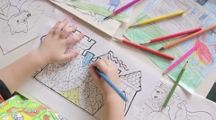 Little boy drawing pencil Stock Footage