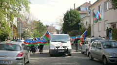 FRANCE - APR 8, 2016:Azerbaijan protesters in front of Azerbaijan Embassy Stock Footage